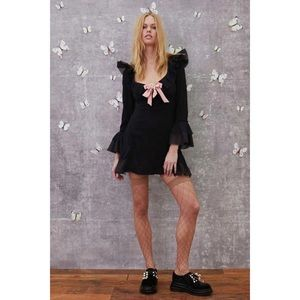 For Love & Lemons Evie Mini Dress Black XS NWT